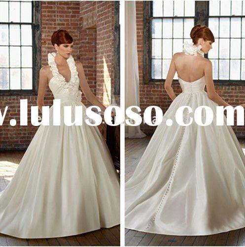 In Fashion Elegant Ruffled Halter Hand Flower Arabic Wedding Dress 4805