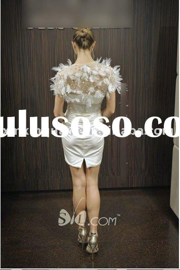 JWD045 Fashion crystal beaded with feather short wedding dress