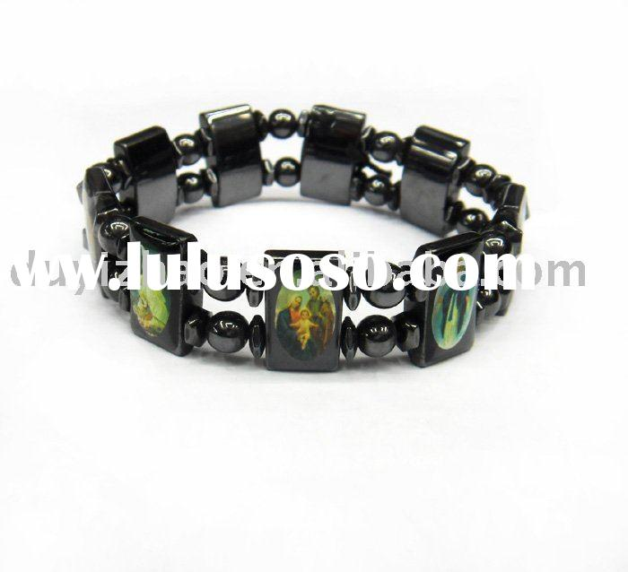Jesus Black/white Magnetic hematite bracelets / bangles, Fashion healthy jewelry