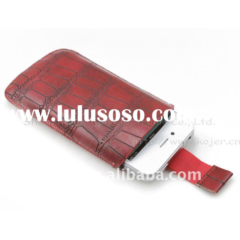 Leather Mobile Phone Pouch for iPhone 4,Customized Designs