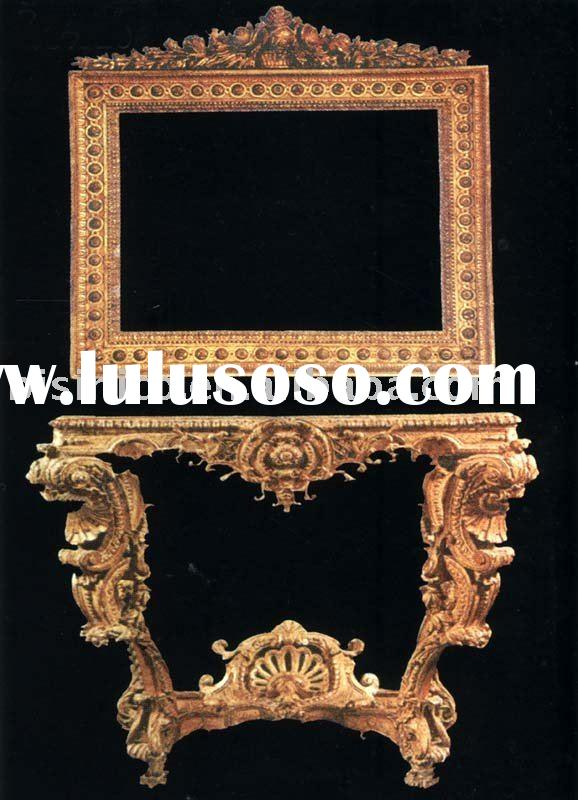 Luxury hand carved solid wood console table with mirror,European furniture,antique living room furni