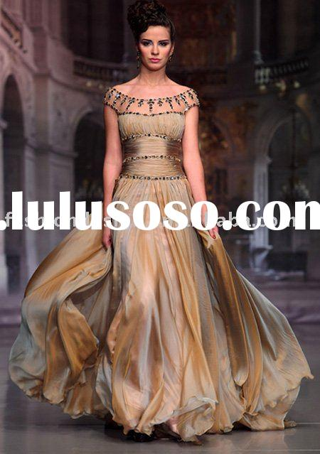 M062 Fashion cap sleeves chiffon crystals arabic evening dress