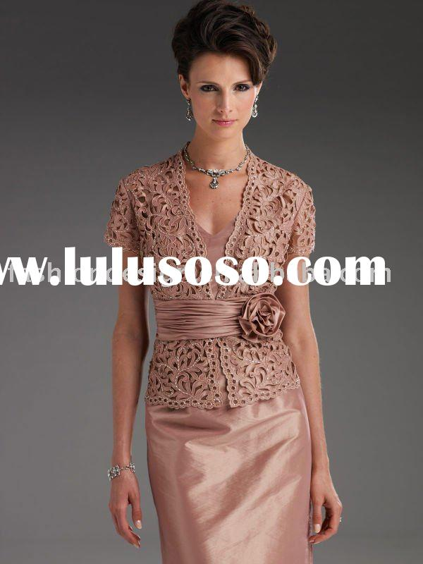 MD148 2012 Unique satin Embroidery beaded jacket Mother of bride dresses