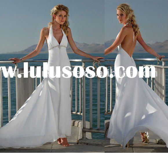 MG028 Beaded Chiffon Halter Backless Mermaid Beach Wedding Dress
