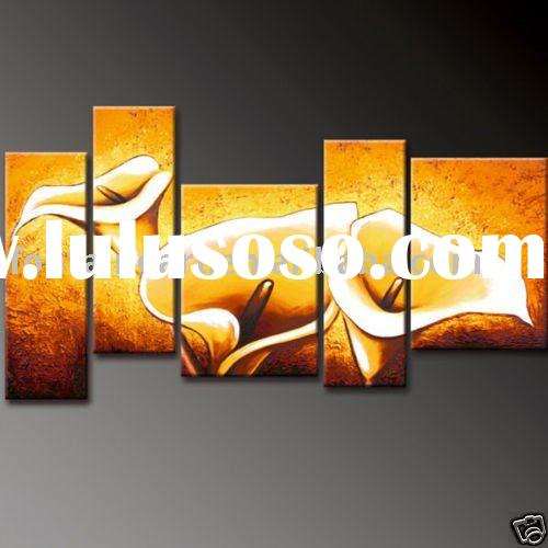 Modern Decoration,Flower Lily Art Group Oil painting(5 panels)