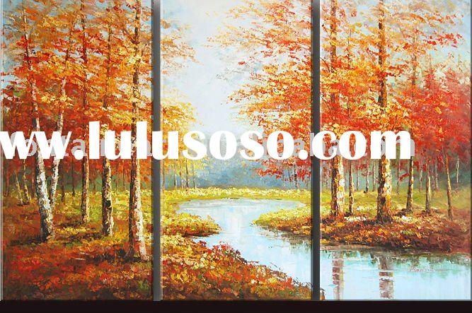 Modern Group Autumn Scenery River Birch Forest Oil Painting (3 panels)
