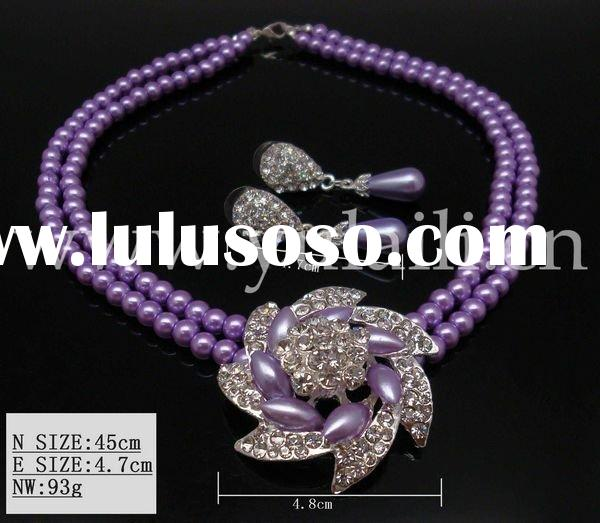 NEW DESIGN charm fashion glass jewelry sets (necklace,earring )