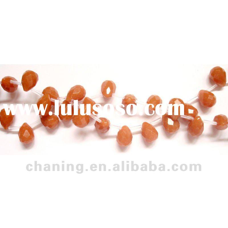 Natural gemstone red aventurine faceted teardorp beads for jewelry