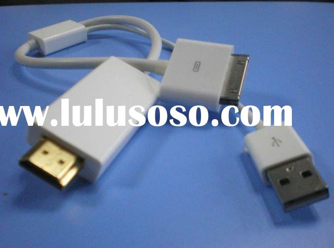 New Style for ipad 2 iPhone 4S to HDMI & USB data cable for HDTV
