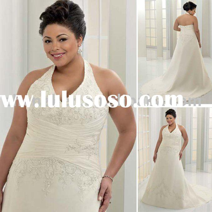 New arrival PW-2014 zhenzhen satin halter embroidered,beaded plus size wedding dress