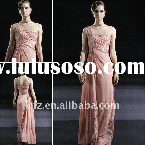 New arrival pink printed floral one shoulder bridesmaid evening dress C56680 free shipping
