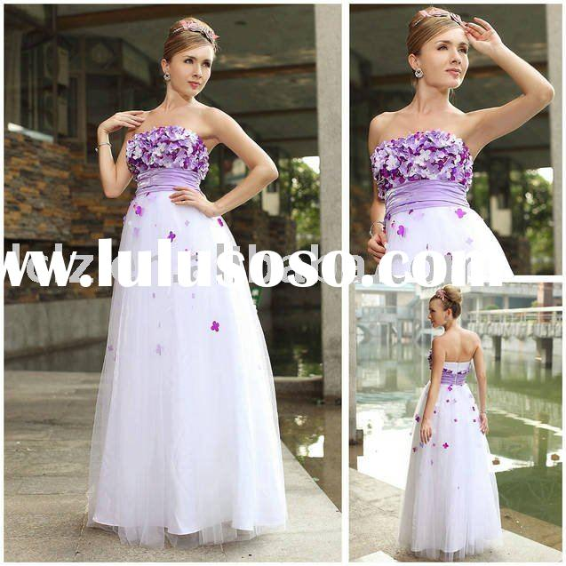 Purple flower dress purple flower dress manufacturers in lulusoso new design fashion wedding dress long white appliqued purple flower strapless backless column dress mightylinksfo