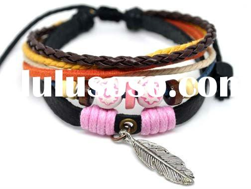 Newest & hottest 2012 fashion leather bracelet jewelry