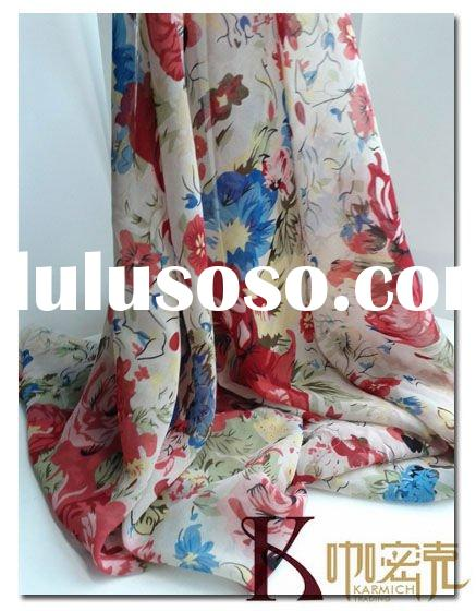 Nice Dresses Floral Printed Silk Chiffon Fabric