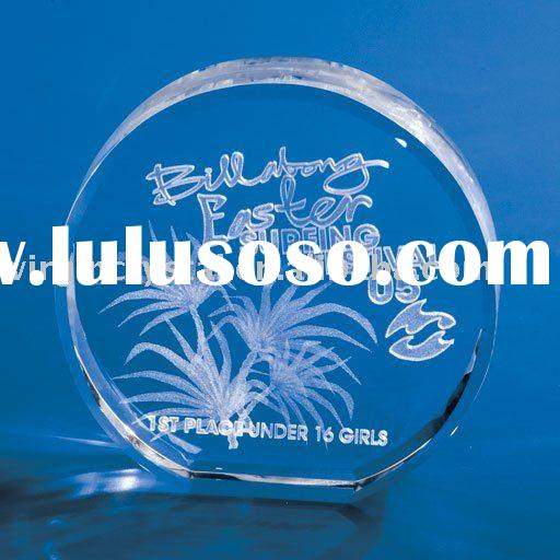 Optic Crystal Circle Laser Engraved Block Paperweight