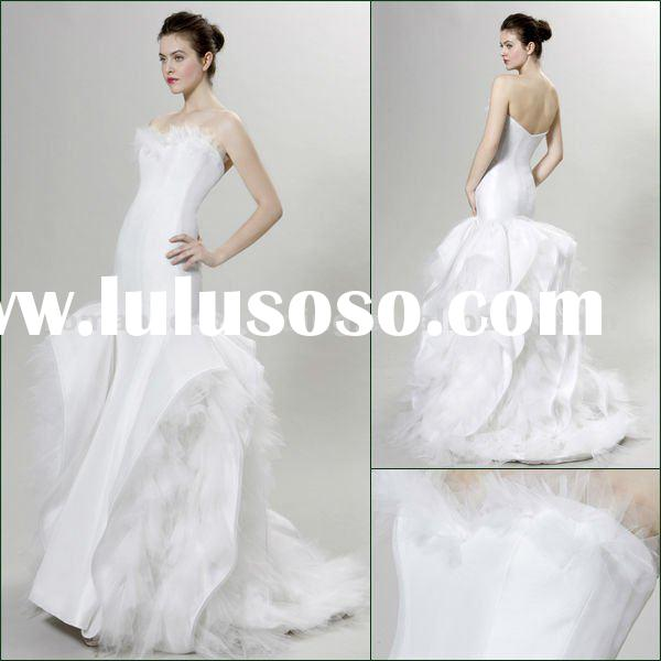 PN0003 Graceful Wings Shape Satin Mermaid Wedding Dress 2012