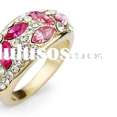 Pink Flower Petal Diamond Embedded Engagement Ring in Crystal JRG0655