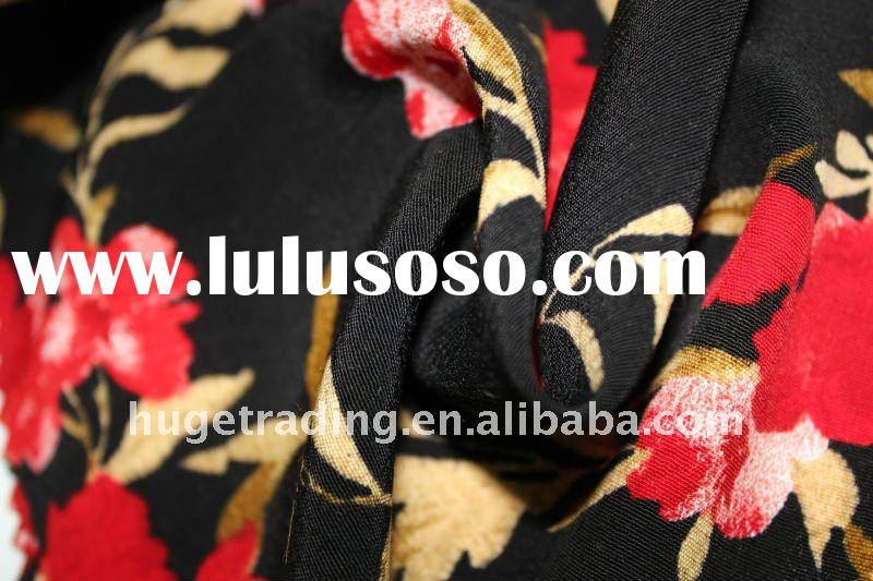 Polyester Rayon Margrette Flower Printed Woven Fabric
