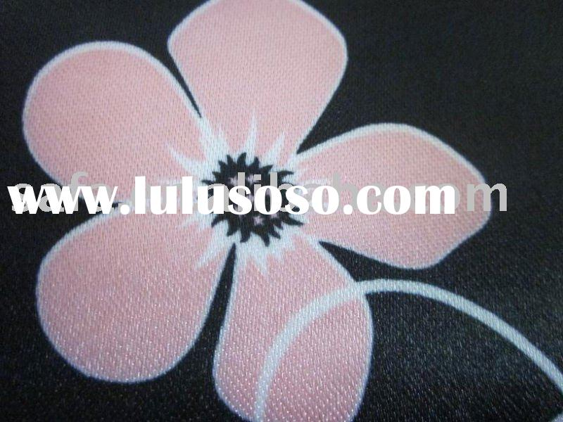 Polyester pvc coated flower printed chiffon fabric