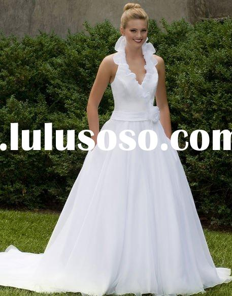 Prefect a-line halter top chapel wedding dresses NAWD1229