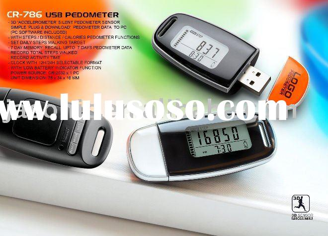 Promotional sports related gift USB 3D pedometer