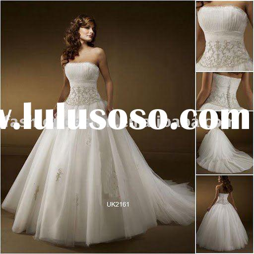 RH109 Fashion designer tulle beaded bridal gowns wedding dress