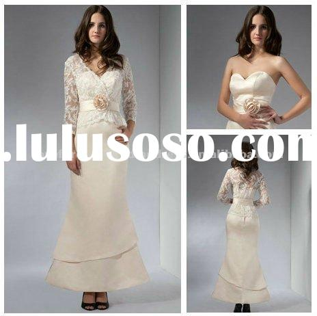 Real Sample Ankle Length Mother of the Bride Lace Dresses