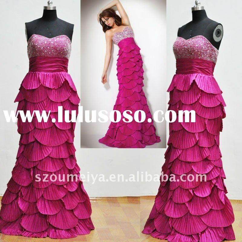 Real Sample OEP20006 Cascading Ruffled Mermaid Evening Prom Dresses 2012