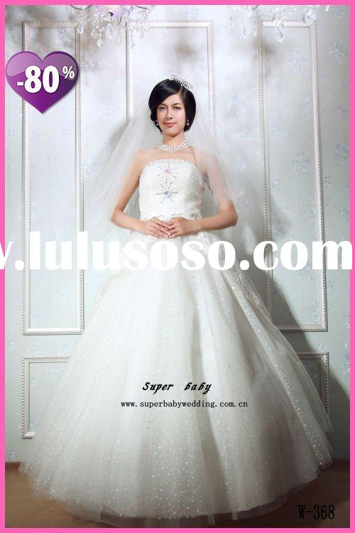 Real elegant design W-368 ball gown strapless Anke length white dots fashion wedding dress
