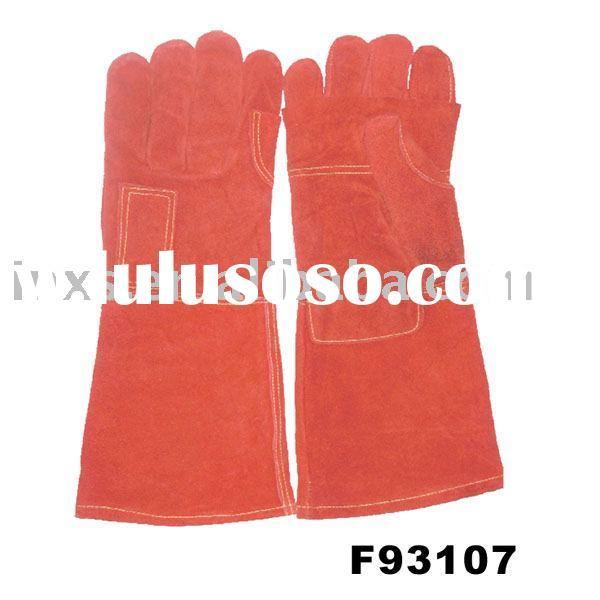 Red Cow Split leather,welding gloves,reinforced palm,fully lined,KEVLAR thread sewn