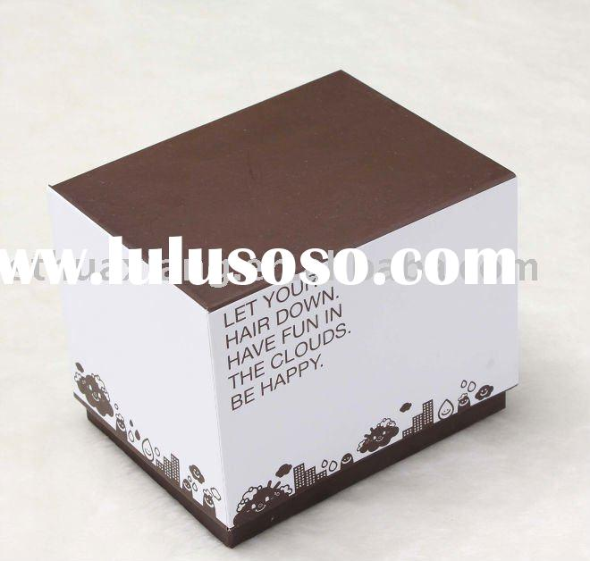 Rigid brown paper packing box with lovely printing