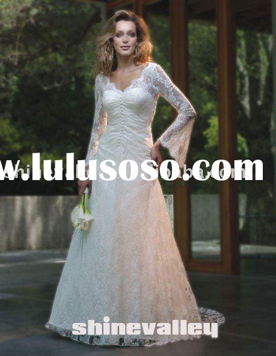 SH419 Brand New V-neckline Trumpet Long Sleeve Lace Wedding Dress,Factory Wholesale Price