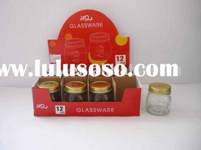 SMALL GLASS JARS AND LIDS IN DISPLAY BOX