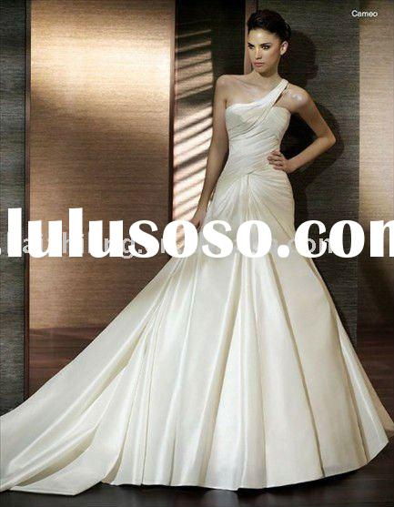 Satin one-shoulder mermaid wedding dress 2011 hot bridal wedding gown