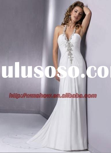 Simple Design Chiffon A-line Halter Top Beach Wedding Dresses