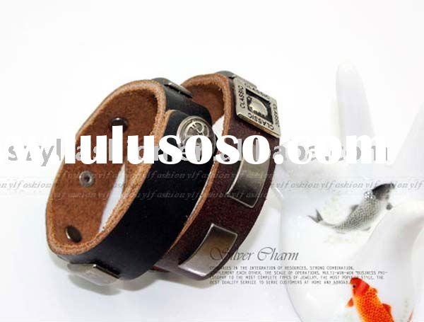 Simple and Generous Genuine Leather Wrist Band Bangle Bracelet Classic Style Leather Jewelry PI0167