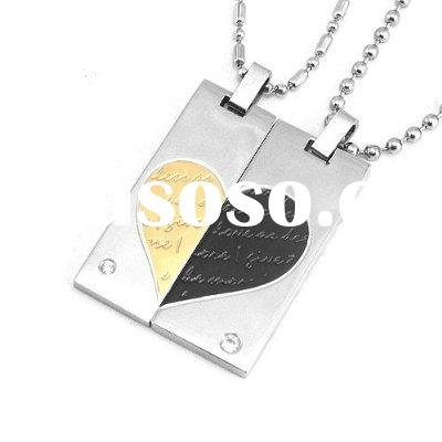 Stainless Steel Couples Black and Gold Tone Heart Cubic Zirconia Necklace Pendant