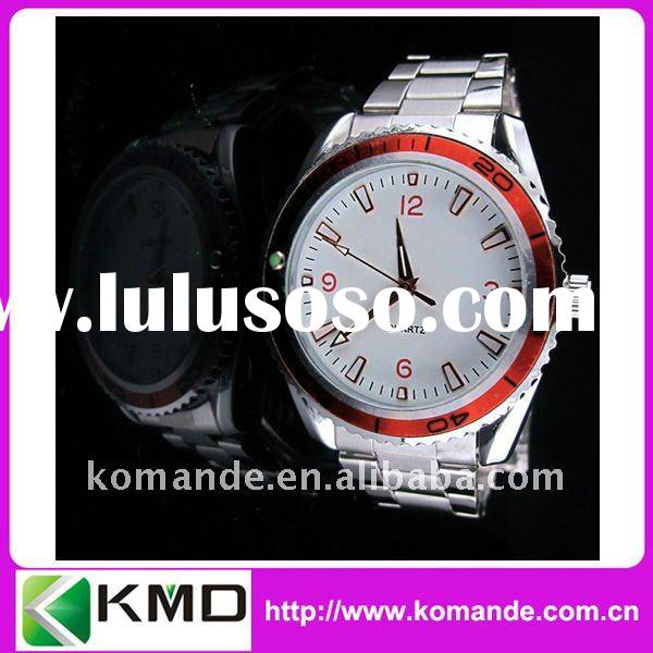 Stainless steel Men Watch with Unique red bezel