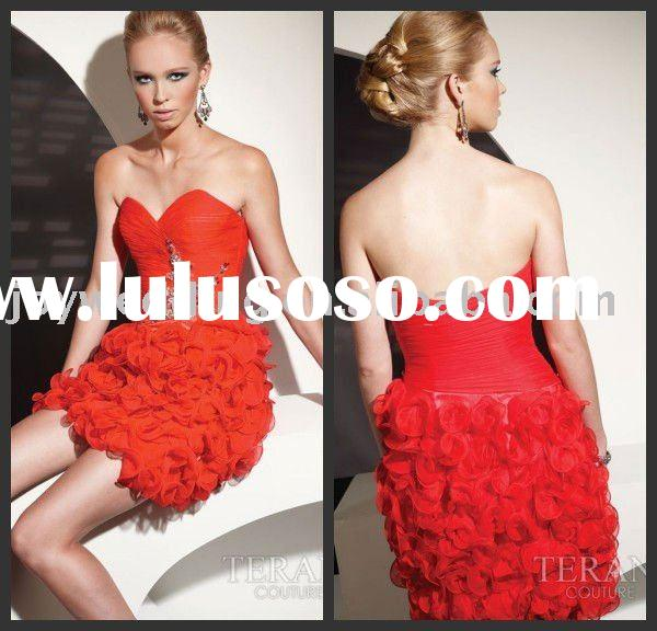 TC0049 Terani couture 2011 Best hotsale Flowing Strapless Short Sequined Prom Dresses