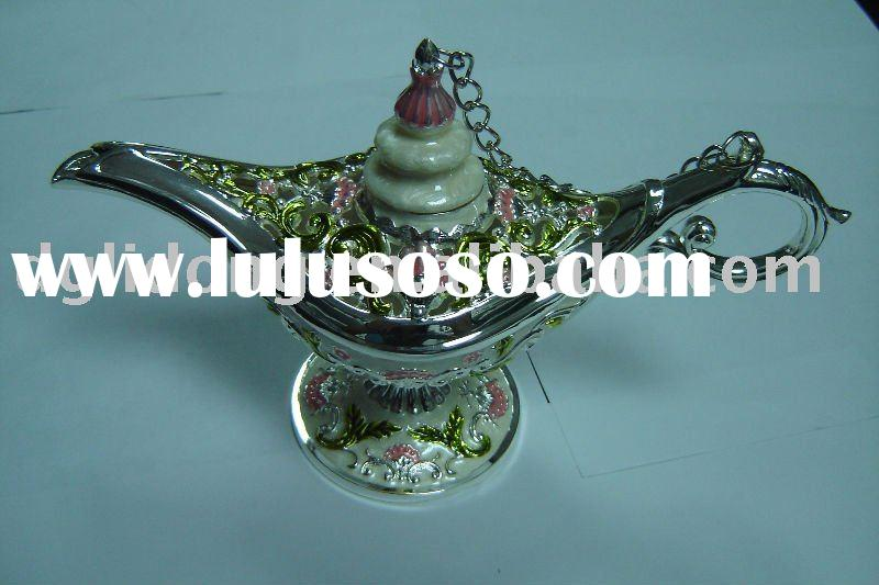 Tea Kettle Design Silver Color Metal Alladin Lamp