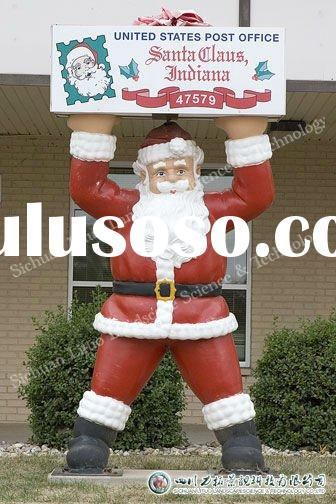 Theme Park Christmas Day Decoration Fiberglass Santa Claus Figure Sculpture
