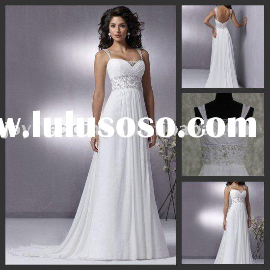 W1075 Free shipping Real samples Fashion new white beaded chiffon lady wedding dress