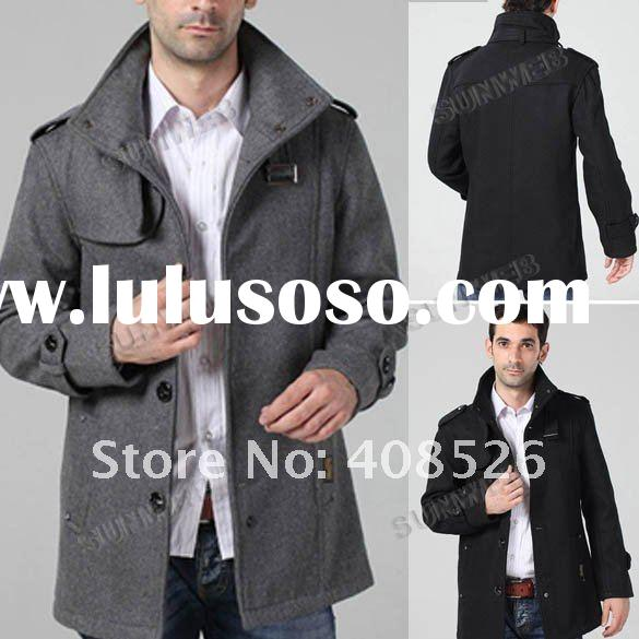 Winter Fashion Men's Funnel Military Neck Wool Coat/Jacket
