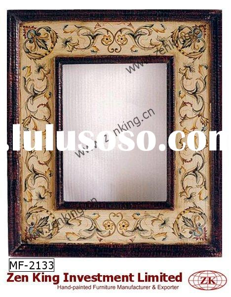 Wooden Wall Mirror with Hand Painted Floral Design