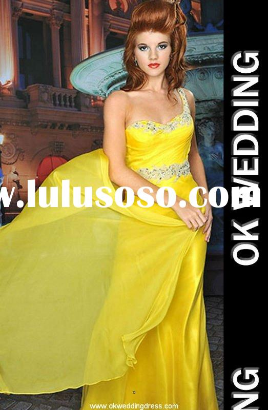 Yellow chiffon beaded empire waist exclusive gorgeous prom dress