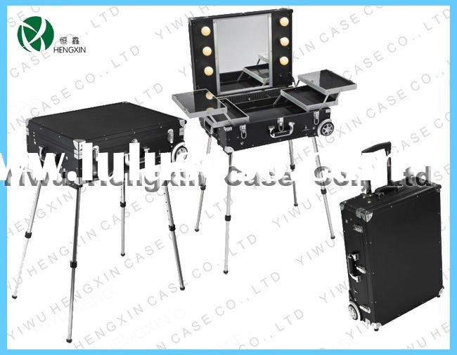 aluminum trolley make up case with lights, make up case with light, lighted cosmetic case,profession