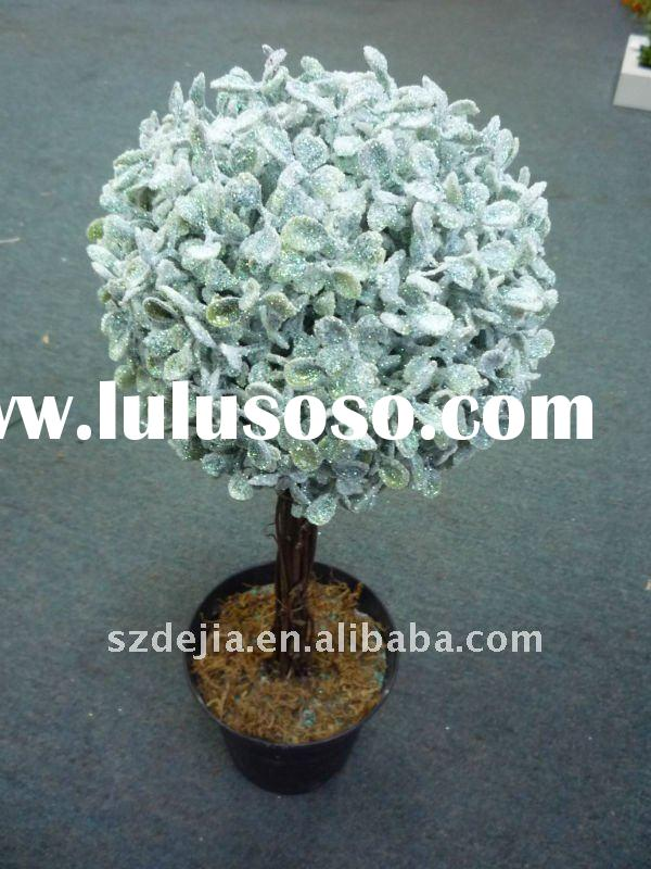 artificial christmas decoration tree plant potted boxwood topiary ball bonsai with flower
