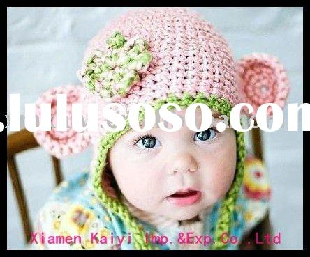 baby crochet hat with flower design
