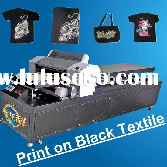 black textile flatbed printer with white ink