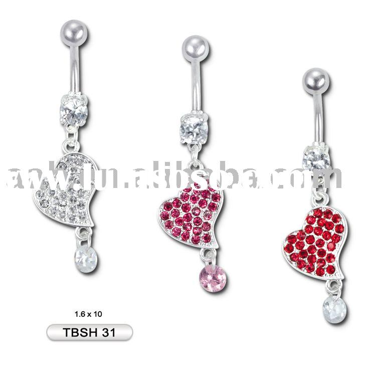 body piercing jewelry belly ring with heart and ball dangle TBSH31